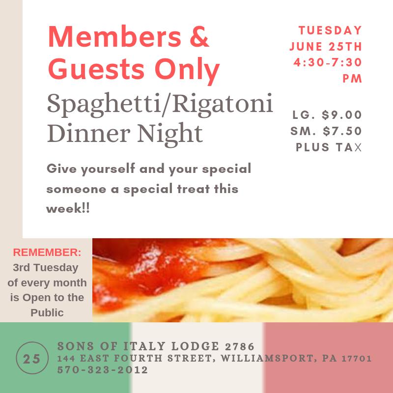 Tuesday - Spaghetti Dinner Night