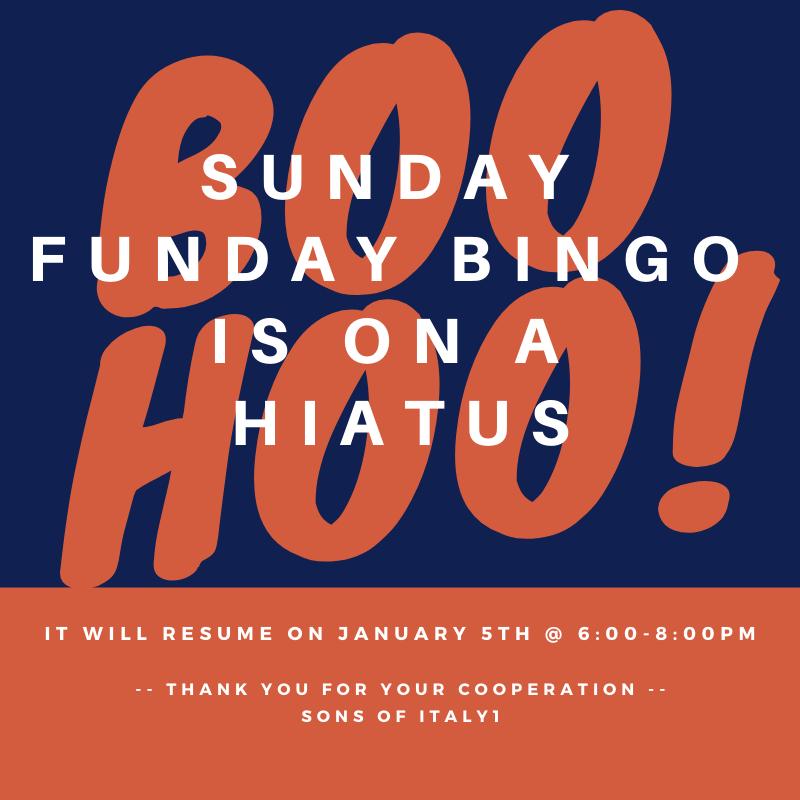 BooHoo Sunday Funday Bingo